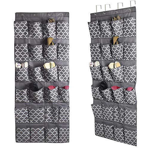 Over The Door Shoe Organizer, Hanging Shoe Holder with 24 Extra Large Fabric Pockets 68.5''x25'' for Storage Men Sneakers, Women High Heeled Shoes, Slippers(Gray with Lantern Pattern)