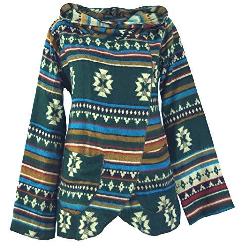 GURU SHOP Cape, Wickeljacke Inka Muster, Damen, Grün/bunt, Synthetisch, Size:S (36), Boho Jacken, Westen Alternative Bekleidung