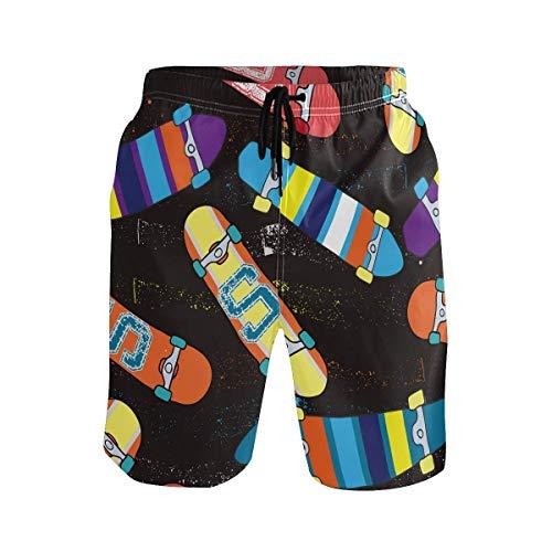 CODOYO Troncos de baño para Hombre Pantalones Cortos de Calle con patrón de monopatín Colorido, Pantalones Cortos de Playa Traje de baño sin Arrugas para Vacaciones al Aire Libre
