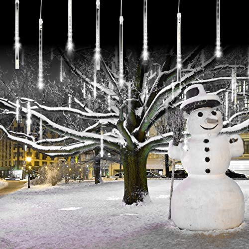 Meteor Shower Falling Rain Lights Christmas Lights 8 Tubes 192 LED Icicle Snow Falling Christmas Lights Outdoor Raindrop Lights, Xmas Wedding Party Tree Holiday Decoration Cool White