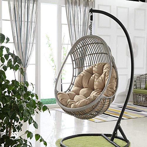 M STAR Gartenterrasse Rattan Swing Chair Wicker Ei Hängende Stuhl Hängematte Hängenstuhl Kissen Kissen 90 * 120 cm (Stuhl Nicht inbegriffen),Khaki