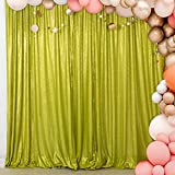 ShiDianYi 4FTx6FT-Sequin Backdrop, Shimmer Sequin Photo Booth Backdrop Sequin Photography Sequin Curtain for Xmas Decor (4FTx6FT, Lime Green)