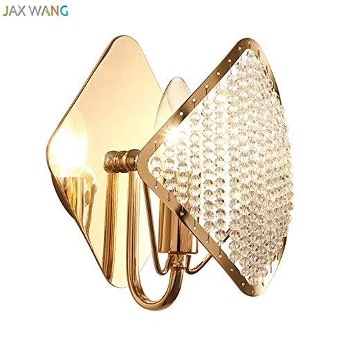 5151BuyWorld LED-lamp, modern, luxueus, goudkleurig, wandlamp, kristal, hoogwaardig, voor woonkamer, slaapkamer, nachtkastje, lamp, binnenverlichting, decoratie