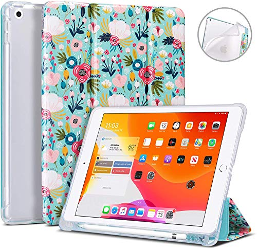 ULAK iPad 10.2 Case with Pen Holder, iPad 7th Generation Soft TPU Back Cover with Stand/Auto Sleep/Wake PU Leather Protective Smart Case for iPad 10.2 8th Generation 2020/7th Generation 2019, Mint