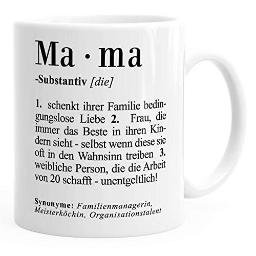 Kaffee-Tasse Mama Definition Dictionary Wörterbuch Duden Geschenk für Mama Mutter MoonWorks® Mama weiß unisize