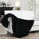 HORIMOTE HOME Luxus-Kunstpelz-Decke, Schwarze hochflorige gemischte Decke, Super Warmer, Flockiger, Eleganter, Flauschiger Dekorations-Deckenschal für Sofa, Couch und Bett,152x203cm