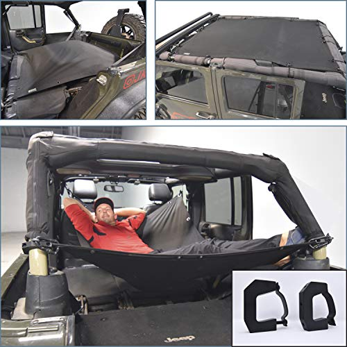 JKloud Hammock fits Jeep Wrangler Roof On or Off Multipurpose Sunshade and Cargo Cover. Adjustable Hammock, Eclipse Sunshade, Military Spec Material Made in USA