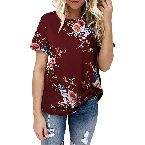 WOCACHI 2020 Womens Blouses Sale, Women Fashion New Sexy Casual Floral Print T-Shirts Short Sleeve Tops and Blouse Spring Summer O Neck Mom Gift Tunics (Red, Large)