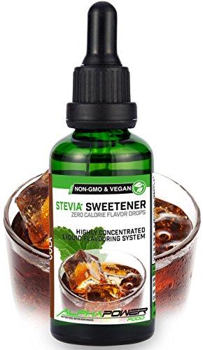 ALPHAPOWER FOOD: Stevia liquida, (1 x50ml Gusto cola-ghiaccio) Gusto liquido, Gocce aromatizzanti e dolcificante senza zucchero sostituto dello zucchero & calorie, dolcificante naturale, vegano