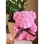 pink rose bear, pink flower bear, a perfect gift for special occasions, 10″ high