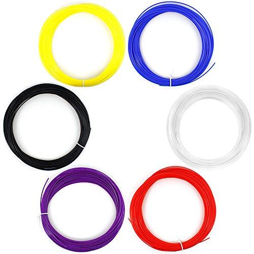 AFUNTA 6 Piezas 1,75 mm 20 m/50 G/ABS Piezas 3D de plástico de impresión para 3D bolígrafo de Impresora - de Color Rojo, de Color Morado, Bule, Negro, Blanco, Amarillo