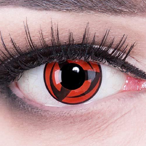 Meralens 1 Paar Farbige Anime Sharingan Kontaktlinsen Kakashi Naruto in rot schwarz perfekt zu Manga Hereos of Cosplay, Halloween mit gratis Kontaktlinsenbehälter rote 12 Monatslinsen ohne Stärke