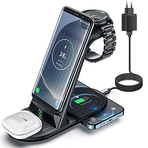 Induktive Ladestation, ZHIKE 4 in 1 Wireless Charger 10W kabelloses ladegerät kompatibel mit Samsung S20/ S20 +/S10 Plus/S10E/S9/Note 10/10E/9/9+,Galaxy Active 2,1/Gear S3/S2/Sport and Buds
