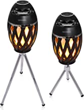 Led Flame Speakers with Retractable Bracket Kits, LED Flickers Romantic Atmosphere for Indoor/Outdoor Portable Stereo Speaker BT4.2 with HD Audio and Enhanced Bass(2 Pack)