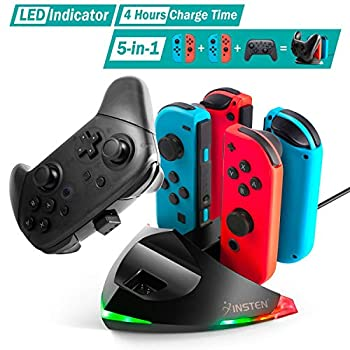 Controller Charger Compatible with Nintendo Switch Joycon and Pro Controller 5-in-1 Charging Station with LED Indicator  3 Feet USB C Cable Included  by Insten