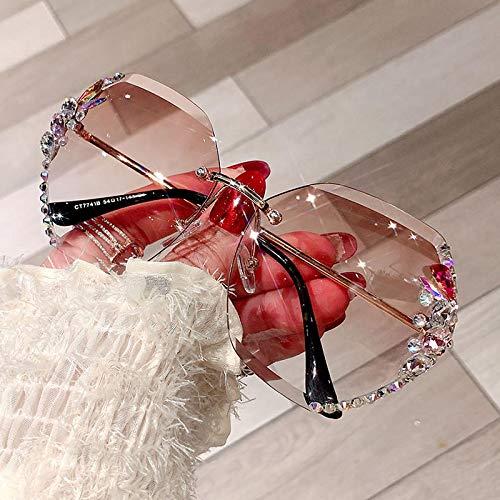 Occhiali da Sole Fashion Brand Design Vintage Senza Montatura Occhiali da Sole con Strass Donna Uomo Retro Taglio Lenti Sfumate Occhiali da Sole Donna Uv400 Rosso