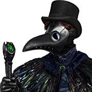 Plague Doctor Mask, Exquisite Steampunk Black Plague Mask for Halloween Cosplay Party, Creepy Long Bird Beak Costume Mask for Masquerade, Leather