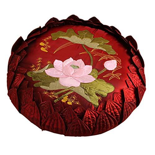 AIKES Redondo Grueso Suave Cojín De Suelo Cojín De Meditación,Premium Tradición China Tatami Cojines Artesanal Bordado Lotus Oración Cojines De Asiento-Rojo 28'(70cm)