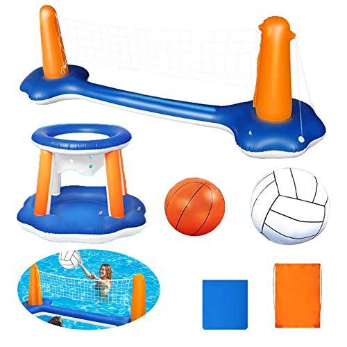 HAN XIU Juguetes de Piscina Piscina Inflable Conjunto de Flotador con Piscina de Baloncesto Inflable Juego de Voleibol para niños y Adultos Set de Deportes acuáticos