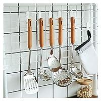 キッチンツール 食器スプーンシャベルテフロン加工ヘラキッチンアクセサリーを調理木製のハンドルステンレス鋼の台所用品セット 調理器具 耐熱 (Color : Colander)