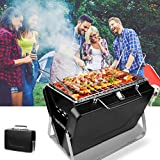 4YANG Portable Barbecue Charcoal BBQ Grill Mini Foldable Charcoal Barbecue Grill for 3-5 Personal BBQ Grill 30.5cm × 8cm × 20cm for BBQ, Party, Picnic, Camping Table