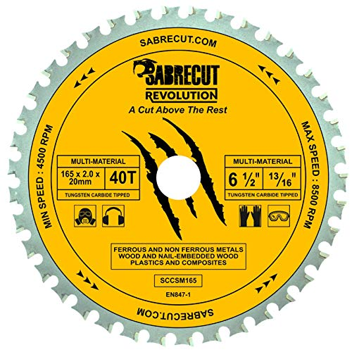 1 x SabreCut SCCSM165_40 165mm 40T x 20mm 16mm Bore Multi-Material Metal Wood Plastic Circular Saw Blade Compatible with Bosch Dewalt Makita Milwaukee and Many Others