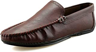 Shangruiqi Driving Loafers for Men Gommino Slip On Microfiber Leather Experienced Stitched Breathable Inside Super Flexible Classic Modern Anti-Skid (Color : Red-Brown, Size : 7.5 UK)