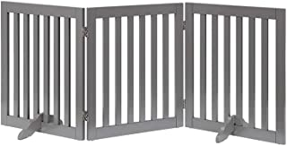 unipaws Freestanding Wooden Dog Gate, Foldable Pet Gate with 2Pcs Support Feet Dog Barrier Indoor Pet Gate Panels for Stai...
