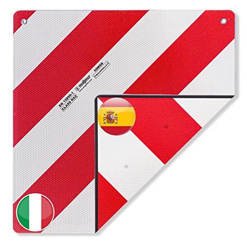 MAGMA Warntafel für hinten. Spanien und Italien 2 in 1. Für Fahrradträger, Heckträger, Anhänger, Warnschild für Wohnwagen, Wohnmobil, Auto. Camping, Abschleppen Rot-weiße Streifen, reflektierend