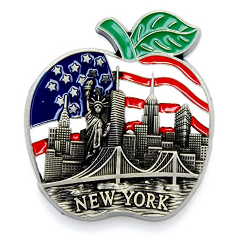 Color May Vary. Big Apple New York Souvenir Metal Fridge NY Magnet - Brooklyn Bridge,Chrysler Building,Statue of Liberty,Empire State Building NYC Metal Magnet (Pack 1)
