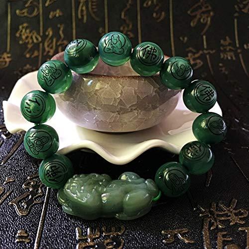 NanXi Pulsera de Perlas Negras de 10 mm con Pi Xiu/Pi Yao atrae la Riqueza y Suerte,C