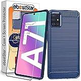 ebestStar - kompatibel mit Samsung Galaxy A71 Hülle SM-A715F Kohlenstoff Design Schutzhülle, TPU Handyhülle Flex Silikon Hülle, Dunkelblau + Panzerglas Schutzfolie [A71: 163.6 x 76 x 7.7mm, 6.7'']