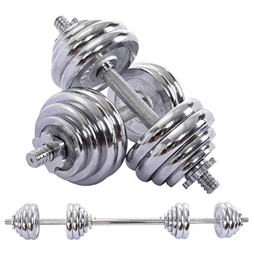 Adjustable Dumbbells Set 30KG/66LBS with Steel Connector, Strength Training Equipment, for Indoor Body Workout Fitness, w/Portable Storage Box, Silver (US Direct, Weights Dumbbells Set Silver)