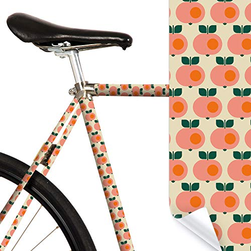 MOOXIBIKE Apple Sweet Creme Mini Fahrradfolie mit Muster für Rennrad, MTB, Trekkingrad, Fixie, Hollandrad, Citybike, Scooter, Rollator für circa 13 cm Rahmenumfang