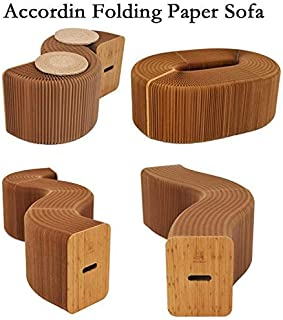 AlienTech Home Furniture Softeating Modern Design Accordin Folding Paper Stool Sofa Chair Kraft Paper Relaxing Foot Stool-Fashion Paper Design, Ideal School, Kitchen,Living & Dining Room