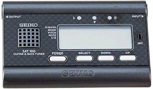 Seiko Precision SAT100B - Afinador para guitarra y bajo (display LCD), color negro