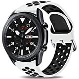 Easuny Sport Band Compatible for Samsung Galaxy Watch 3 45mm/Galaxy Watch 46mm /Samsung Gear S3 Frontier, 22mm Quick Release Silicone Breathable Watch Strap Accessories, White/Black Small