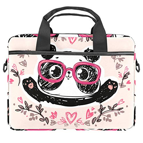 Laptop Bag Cute Cartoon Panda Glasses Notebook Sleeve with Handle 13.4-14.5 inches Carrying Shoulder Bag Briefcase