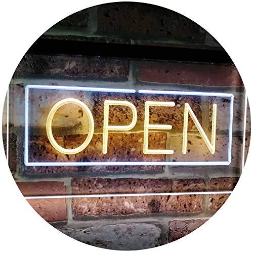 ADV PRO Open Shop Display Rectangle Dual Color LED Barlicht Neonlicht Lichtwerbung Neon Sign Weiß & Gelb 400 x 300mm st6s43-i2019-wy