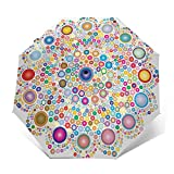 Paraguas De Viaje Tríptico Automático, Ligero Y Fácil De Transportar,Círculos Mandala Decorativos