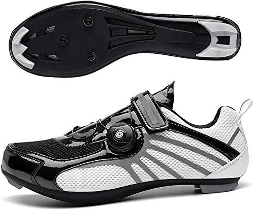 JINFAN Calzado De Ciclismo para Hombre,Calzado para Montar En Bicicleta De Carretera Calzado para Bicicleta De Carrera Profesional con Autobloqueo/Suelas De Nailon,Black-46EU
