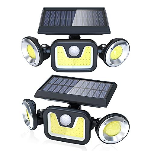 Luce Solare Led Esterno,Ltteny Lampada Solare Luci Esterno Energia Solare Impermeabile IP65 Faretti Solari con sensore di movimento 120° per Giardino, Parete Wireless Risparmio Energetico