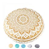 Mandala Life ART Funda de cojín de suelo de Bohemia Yoga Décor – Relleno no incluido – Funda de almohada redonda de mediación – Puf de algodón orgánico impreso a mano