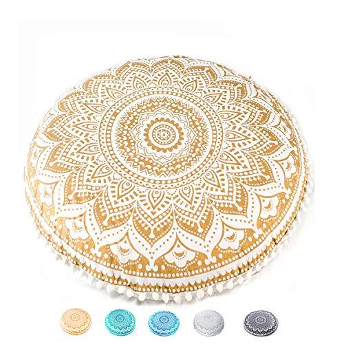 Mandala Life Art Bohemian Yoga Decor Funda de cojín de Piso – Funda de Almohada Redonda – Puf de algodón orgánico Impreso a...