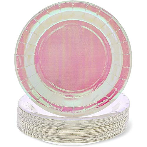 Pink Holographic Party Plates for Lunch, Dessert and Dinner (9 Inch, 48 Pack)