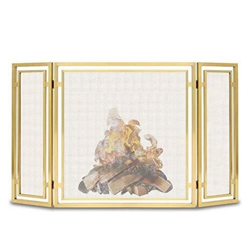 Kamingitter Folding Kamin Metallsiebe, Massiver Schmiedeeiserner Baby Safe Kamin Zaun, Gold-Finish Mesh, Home Decor Feuer Funkenschutz, 78 × 30 × 76 cm