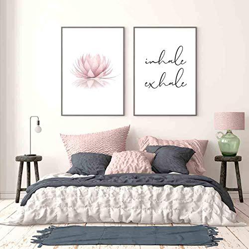 Cartel minimalista moderno Impresión de loto rosa Zen Yoga Arte de la pared Pintura en lienzo Imagen Inhale Exhale Citas Decoración de la habitación 40x50cmx2pcs Sin marco