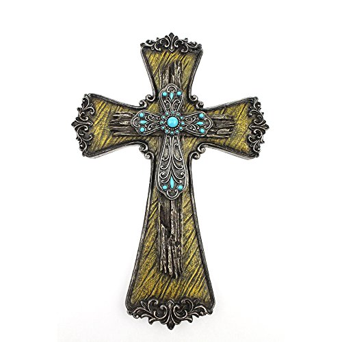 Comfy Hour Cross Cross on the Wall Collection 12' Blue Diamond Classic Cross, Stone Resin Sculpture