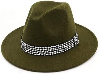 XinLin Du Classical Men Women Wool Fedora Hat With Cloth Belt Wide Brim Hat Pop Church Hat Size 56-58CM