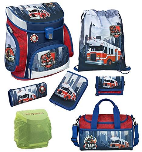 Familando Scooli Schulranzen-Set 7 TLG. Feuerwehr-Auto mit Federmappe, Sporttasche und Regenschutz Fire-Fighter